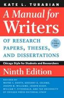Manual for Writers of Research Papers, Theses, and Dissertations, Ninth   Edition: Chicago Style for Students and Researchers 9th New edition