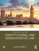 Constitutional and Administrative Law 13th New edition