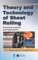 Theory and Technology of Sheet Rolling: Numerical Analysis and Applications