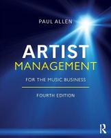 Artist Management for the Music Business 4th New edition