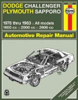 Dodge Challenger/Plymouth Sapporo 1978-83 Owner's Workshop Manual illustrated edition