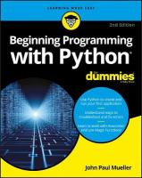 Beginning Programming with Python For Dummies 2nd Edition