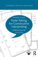 Note-taking for Consecutive Interpreting: A Short Course 2nd New edition