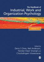 SAGE Handbook of Industrial, Work & Organizational Psychology, 3v: Personnel Psychology and Employee Performance; Organizational Psychology;   Managerial Psychology and Organizational Approaches 2nd Revised edition, Volume 3