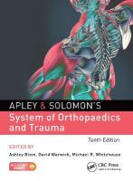 Apley & Solomon's System of Orthopaedics and Trauma 10th New edition