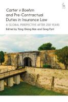 Carter v Boehm and Pre-Contractual Duties in Insurance Law: A Global Perspective after 250 Years