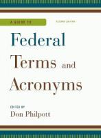Guide to Federal Terms and Acronyms Second Edition