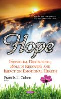 Hope: Individual Differences, Role in Recovery & Impact on Emotional Health