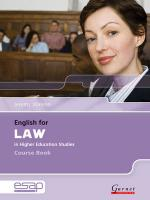 English for Law Course Book plus Audio CDs Student edition, Course Book and Audio CDs