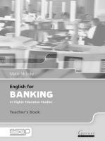 English for Banking Teacher Book Teacher's edition, Teacher's Book