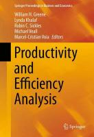 Productivity and Efficiency Analysis 2016 1st ed. 2016