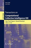 Transactions on Computational Collective Intelligence XIX 2015 1st ed. 2015